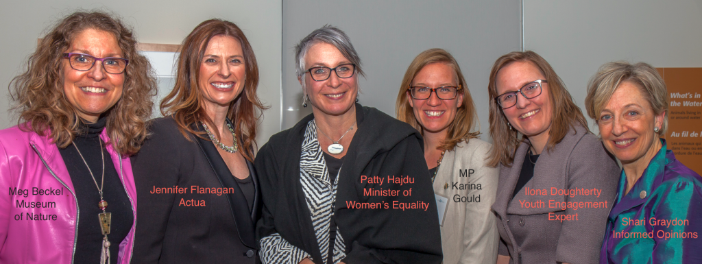 """Ignite"" presenters at the March 9th Women Making Change Soireé included Meg Beckel, CEO of the Museum of Nature; Jennifer Flanagan, CEO of Actua; youth engagement expert, Ilona Dougherty; and Informed Opinions' founder and catalyst, Shari Graydon, seen here with Minister of Women's Equality, Patty Hajdu, and MP Karina Gould, who also spoke at the event."