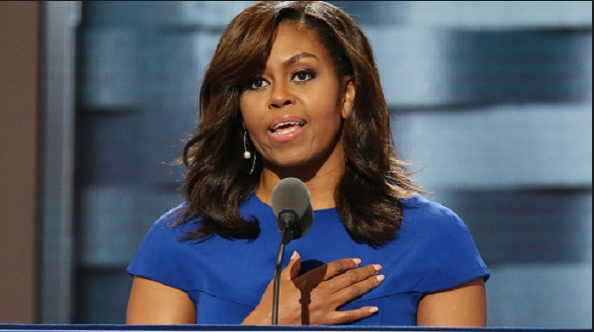 Michelle Obama, pictured here at the Democratic convention where she gave a magnificent speech, needs no introduction